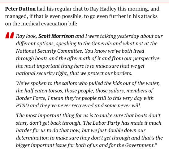 Peter Dutton continues to attack the #MedevacBill https://t.co/Ibh6QVEito #auspol #politicslive #MediVacBill