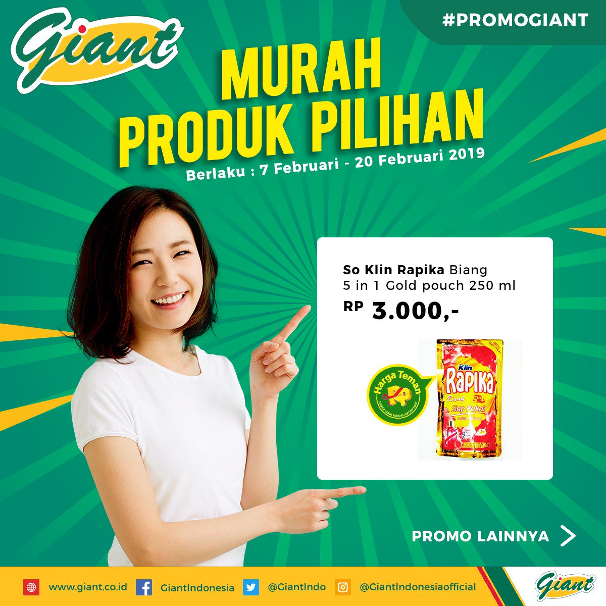 Yang selalu promo setiap hari di Giant. Mau belanja bulanan? Yuk cek katalog terbaru di Giant. Promo Mailer berlaku 7-20 Februari 2019 di Giant Ekstra dan Giant Ekspres.  #YukBelanja ke Giant ke sebelum kehabisan!  #PromoGiant #GiantIndonesia