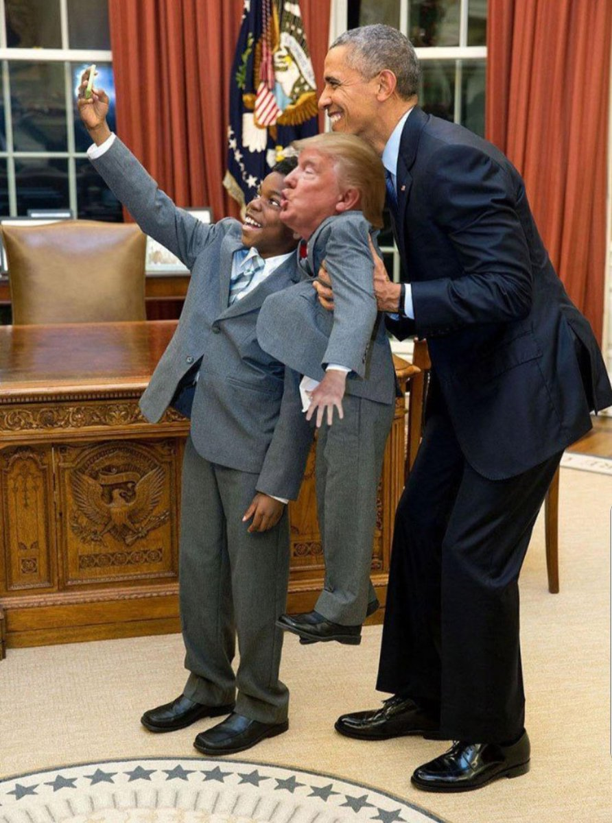 For as long as I live, I will never understand why President Obama was so nice to that wicked little man with the unnaturally orange skin.  He even held him up to take a selfie in the Oval Office. How nice!  I sure miss Obama. <br>http://pic.twitter.com/NiqwEKfx1f