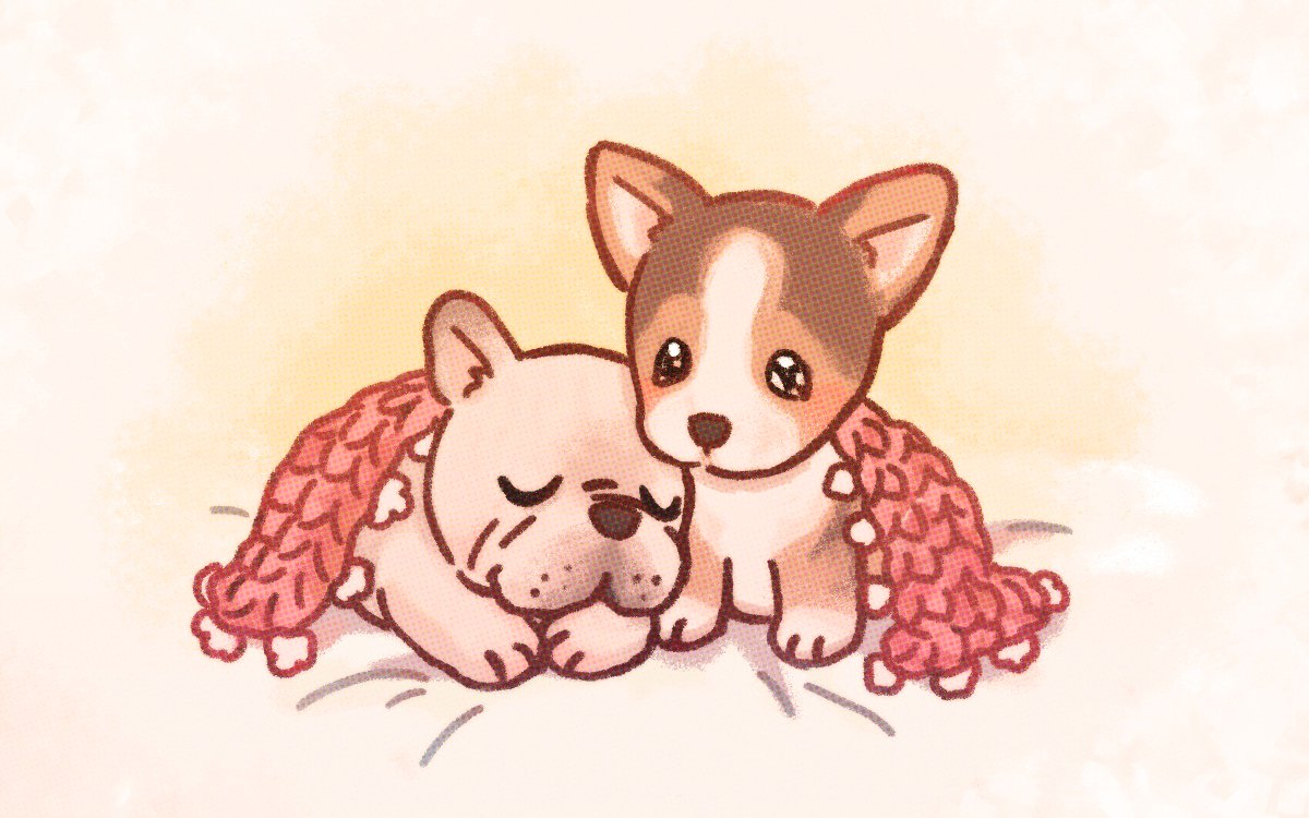 my friend commissioned me to draw some puppy love #corgi #frenchbulldog <br>http://pic.twitter.com/bufHOrwIWZ