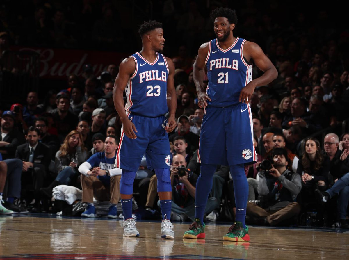 26 PTS, 14 REB from #JoelEmbiid  and 25 PTS from Tobias Harris paces the @sixers W at MSG!  #HereTheyCome  126 #NewYorkForever  111  #BenSimmons : 18 PTS, 7 AST Jimmy Butler: 13 PTS, 8 AST, 7 REB <br>http://pic.twitter.com/QzkKB5IYzv
