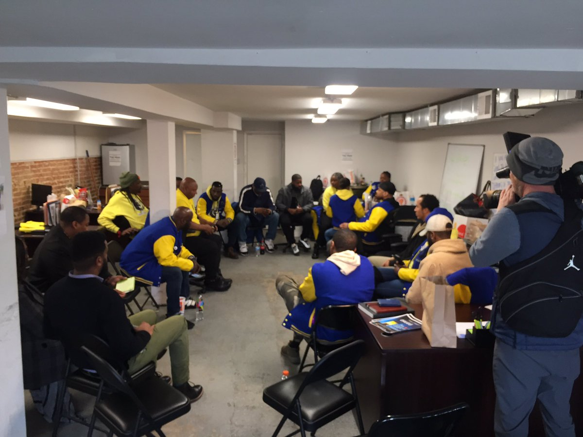 """A meeting of """"Violence  Interrupters """" in SE today. The city has contracted with a group that includes ex inmates to take to the streets to try to prevent gun violence. Pilot programs in wards 5&8.   http://wjla.com/news/local/dc-ex-cons-violence-interrupters-crime…"""
