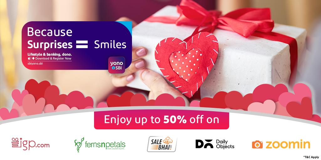 Surprise your loved ones this week & enjoy up to 50% off too, only with #YONOSBI! Download & register now: http://sbiyono.sbi  #SBI #StateBankOfIndia #YONOSBI #Gifts #Offer #Shopping #OnlineShopping