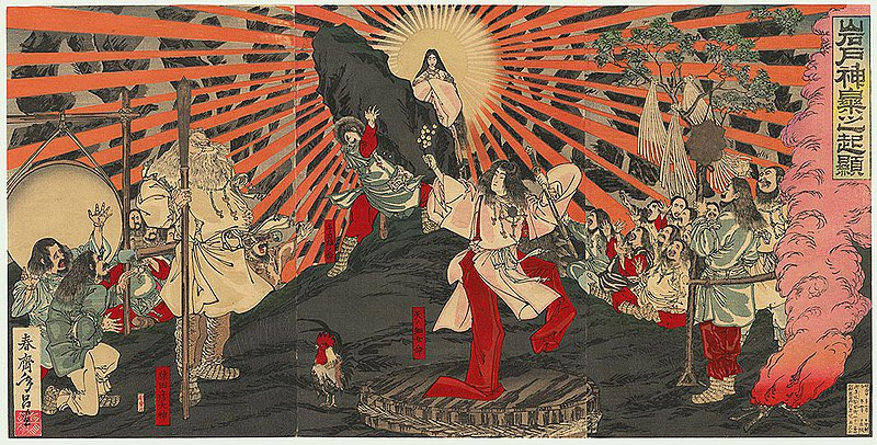 An image of the Japanese Sun Goddess Amaterasu emerging from a cave. 19th century. Signed: 'Shunsai Toshimasa' (春斎年昌), title: 'Iwato kagura no kigen' (岩戸神楽之起顕) - 'Origin of Music and Dance at the Rock Door', Woodblock print (nishiki-e); ink and color on paper