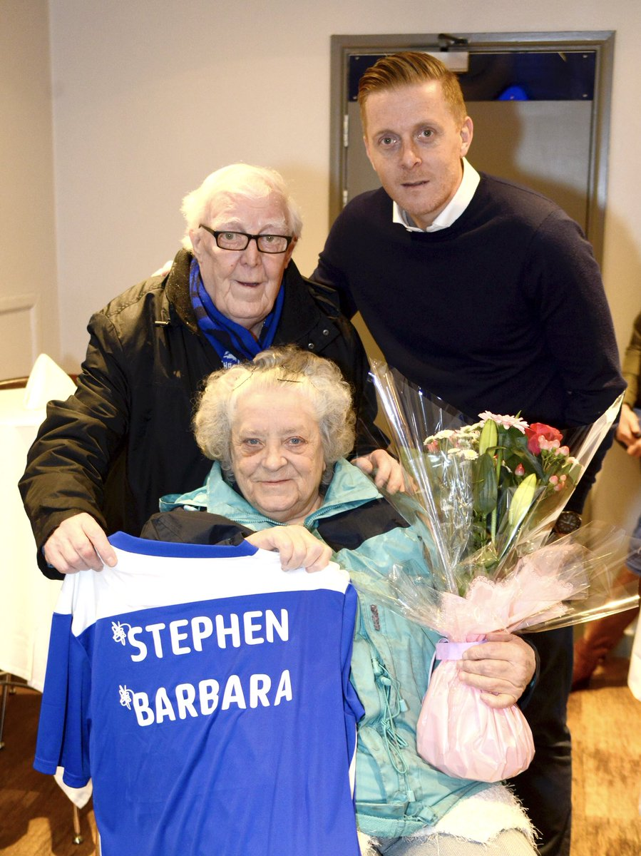 💙 Happy #ValentinesDay to Bluenose couple, Stephen and Barbara.  The pair met on an away day in 1958 and it was love at first sight!  @GarryMonk invited them into his office to present them with a personalised shirt and hear about their story. 🙌  #BCFC