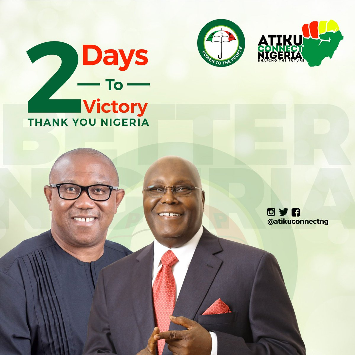 Its 2days to your victory #AtikuMyVal  @atiku Congratulations already!!! Together we would get Nigeria Working Again #BetterNigeria #ThursdayThoughts #NigeriaDecides2019 #AtikuConnect #AtikuObi<br>http://pic.twitter.com/X0LevnXLuV