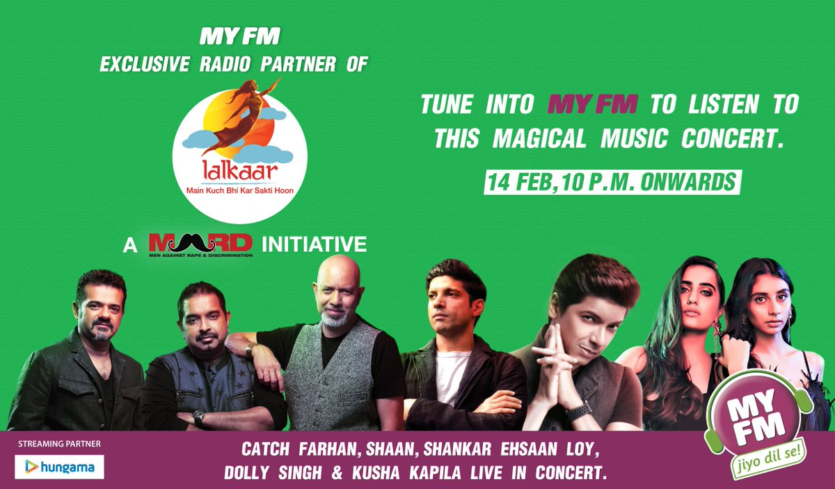 #MYFM is proud to be Official Radio Partner #Lalkaar. Tune in to #MYFM to listen to this magical musical concert today 10 PM Onwards. @FarOutAkhtar @singer_shaan @ShankarEhsanLoy @spill_the_sass @KushaKapila @lalkaarin . @MARDOfficial #MKBKSH @Hungama_com