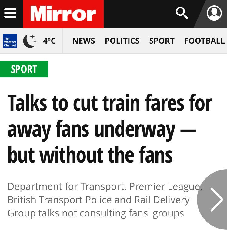 BREAKING: The Government have given the green light to our Fans' Fare scheme.  We've been pushing this for two years now - supporters deserve better. While we welcome this move, the Govt must ensure fans are part of the conversation.  See @MirrorFootball: https://www.mirror.co.uk/sport/football/news/talks-cut-train-fares-away-13997428.amp …