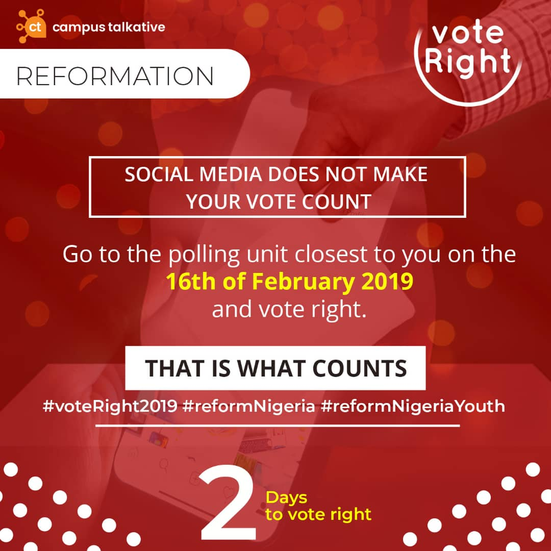 Coming out to vote is what counts. Not sitting at home to listen to the opinions of those that voted. Your vote, your power, your voice your Nigeria. #voteright2019 <br>http://pic.twitter.com/zFmRMi9nCn