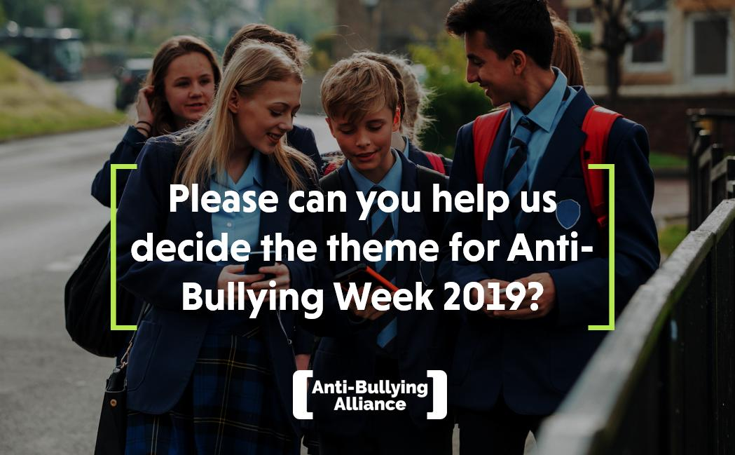 .@abaonline have already started to plan for Anti-Bullying Week 2019, but they need your help to decide on a theme! If you're a young person, they'd love to hear your thoughts through their pupil survey - https://www.surveymonkey.co.uk/r/Pupil-ABA-19 The deadline is 18th Feb!