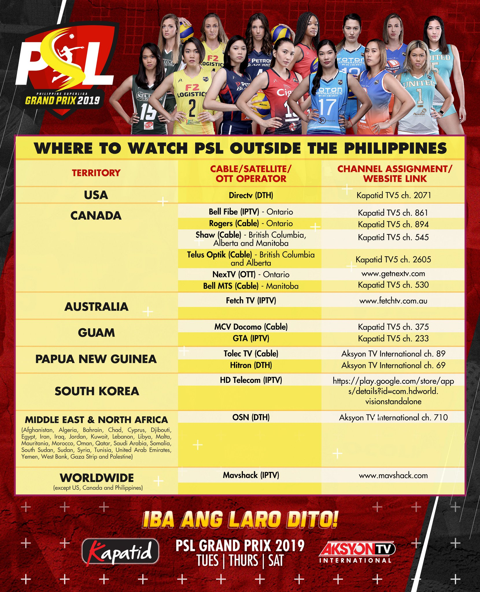 Here are the TV channels where you can watch PSL