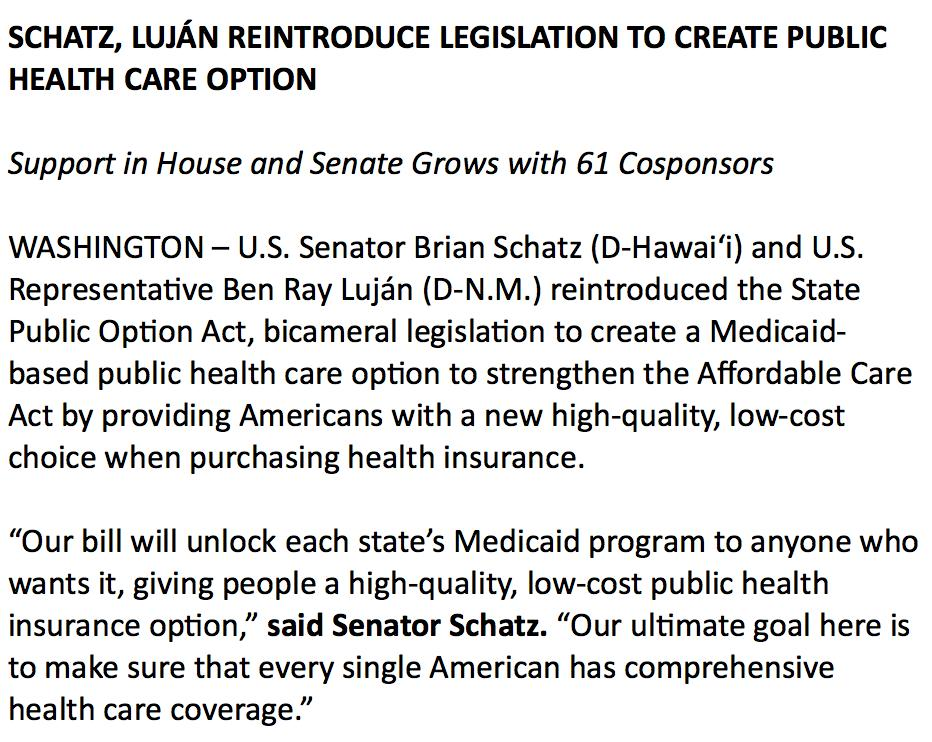 New this morning: Senator @brianschatz, @repbenraylujan reintroduce their Medicaid buy-in plan.  Their argument: It gives states flexibility and builds on existing framework. (And their implication: It's less disruptive than Medicare-for-all.)