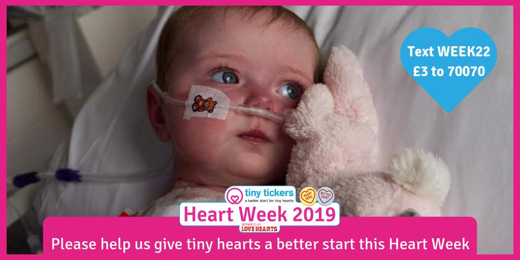 1 in every 125 babies is born in the UK with a serious heart condition. Our mission is to improve the early detection and care of those #heart babies, giving them a better start in life. During #HeartWeek2019 you can help us. Pls  text WEEK22 £3 to 70070.  #chd #chdawareness