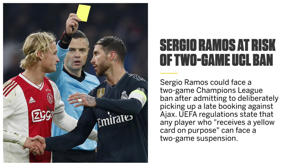 Sergio Ramos is facing the prospect of a two-game Champions League ban.