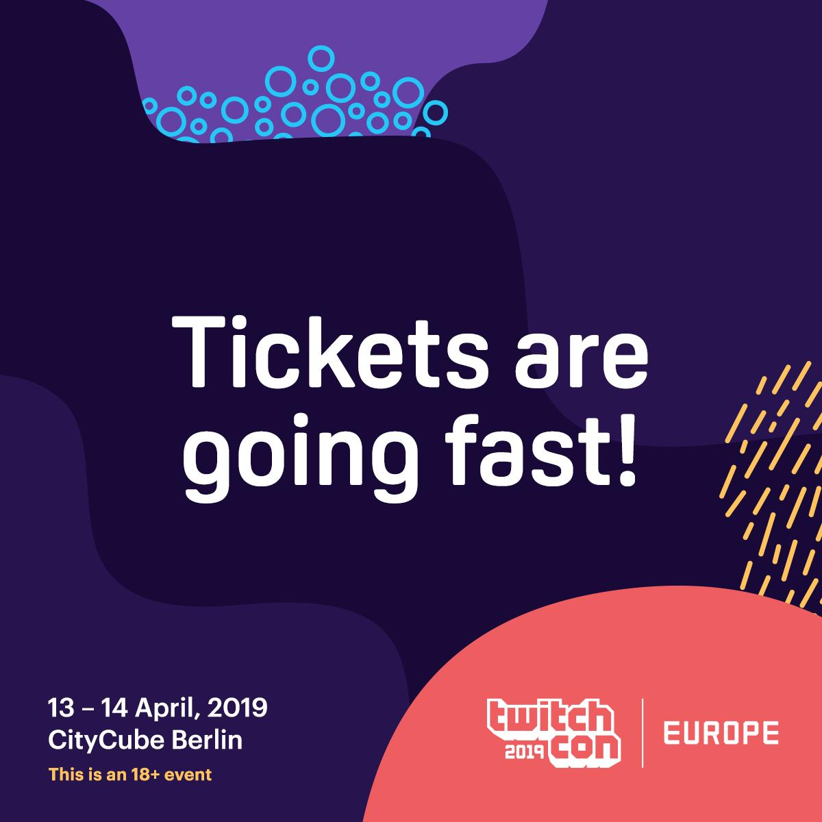 Heads-up: tickets to TwitchCon Europe are going QUICK. If you're planning on joining us in Berlin and don't yet have a ticket, now's your time. We hope to see you there: https://link.twitch.tv/2Im3aOe