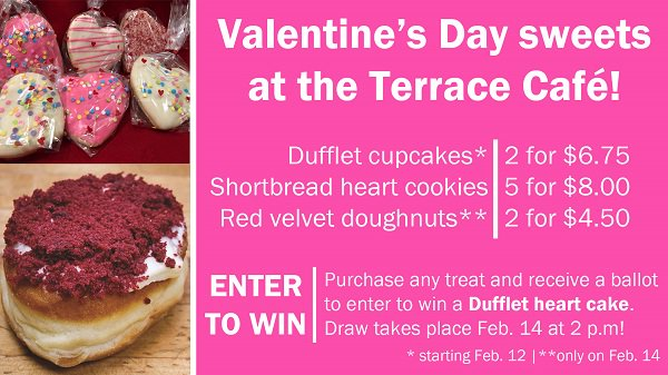 Happy Valentine's Day! Stop by the Terrace Café today -- we're celebrating with cupcakes, cookies and red velvet doughnuts! #EatatSK #ValentineDay #ValentinesDay