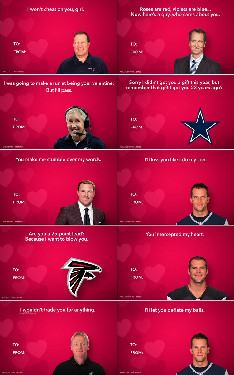 Nfl Memes On Twitter Here S This Year S Batch Of Nfl Themed Valentine S Day Cards