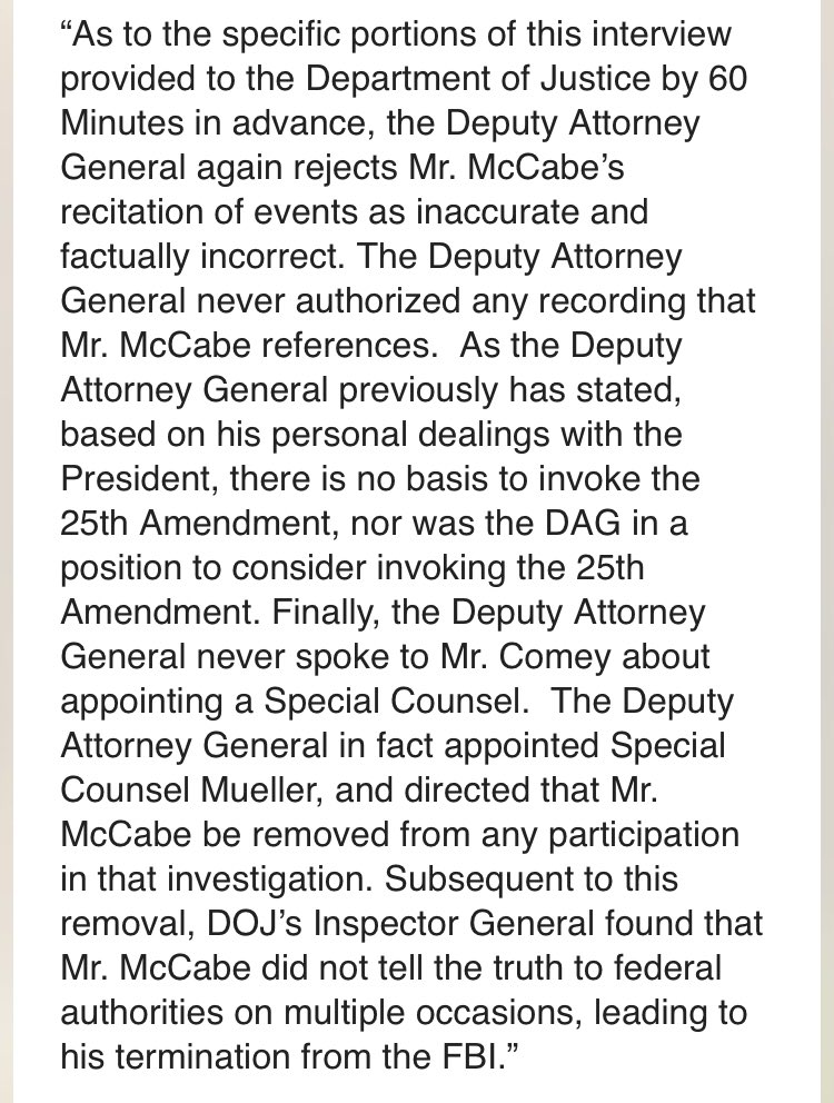 JUST IN: DOJ responds to @60Minutes interview with Andrew McCabe, airing Sunday on @CBS.