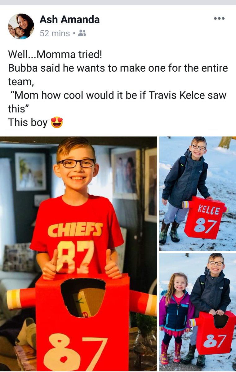 @tkelce Check out this little boy's Valentine's Box for school from Dexter, Iowa!!