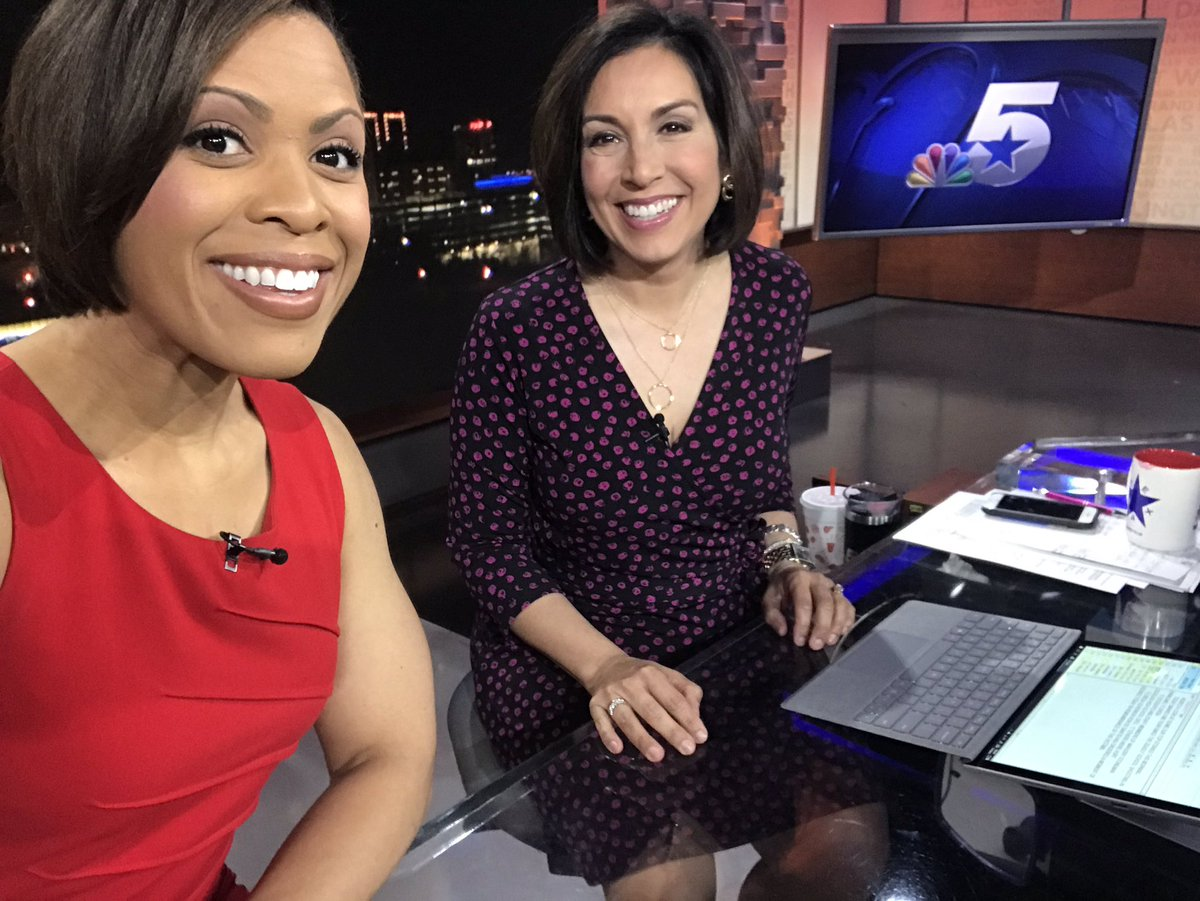 I had to lose the sleeves for today's newscasts... we're climbing people! 🌡 🌞 😎  @DeborahNBC5 and I in our Valentine's Day best! And @GrantJNBC5 with your wake up weather coming up!