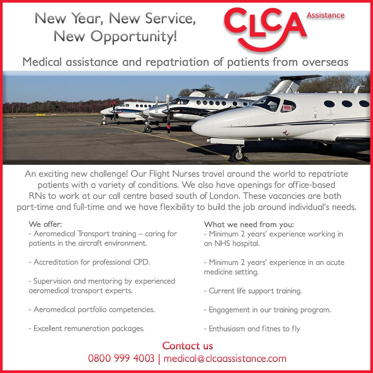 FLIGHT NURSES WANTED - We are recruiting now!  To find out more about the roles, please contact our Aeromedical Services Manager:  +44 (0)800 999 4003 | medical@clcaassistance.com  #aviation #FlightNurse #recruitment #Recruiting