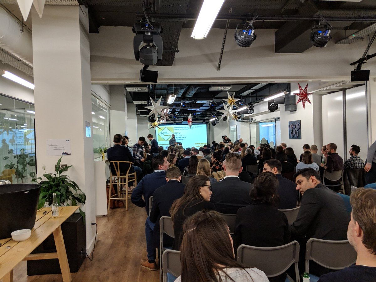 Enjoyed sponsoring and networking at last night's @TechLondonAdv @TLA_RetailTech #retailtech event @CocoonGlobal_ in Shoreditch. A fantastic turnout and great presentations from @madedotcom #kitri @farfetch @Storefront - great to see so many familiar + new faces! Wrap up to come!