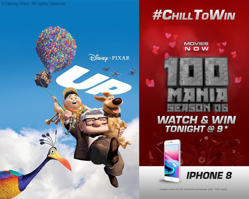 The quest to find Paradise Falls starts tonight @ 9! Watch UP & win an #Iphone with #100ManiaS6! #ChillToWin
