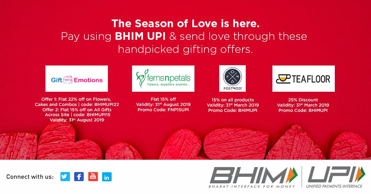 Celebrate the season of love with the best gifting offers available on BHIM UPI.  Grab them here - http://bit.ly/BHIMUPIAllOffers…  #Valentines #ValentinesDay #HighOnUPI #UPIOffers
