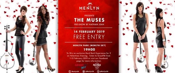 Really looking forward to @TheMusesZA at @MenlynSA tonight - it's going to be epic for Valentine's #ValentinesDay2019 #MenlynPark