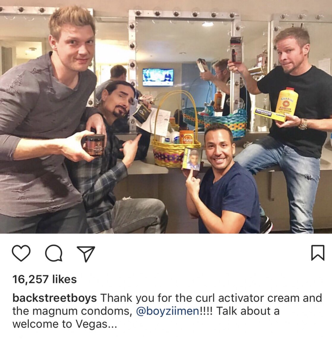 #tbt laughing at that time we sent a welcome package to @backstreetboys in vegas........