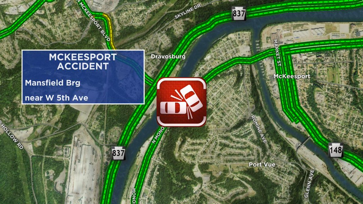 Accident in McKeesport on the Mansfield Brg near W 5th Ave @KDKA<br>http://pic.twitter.com/i4Witlz77B