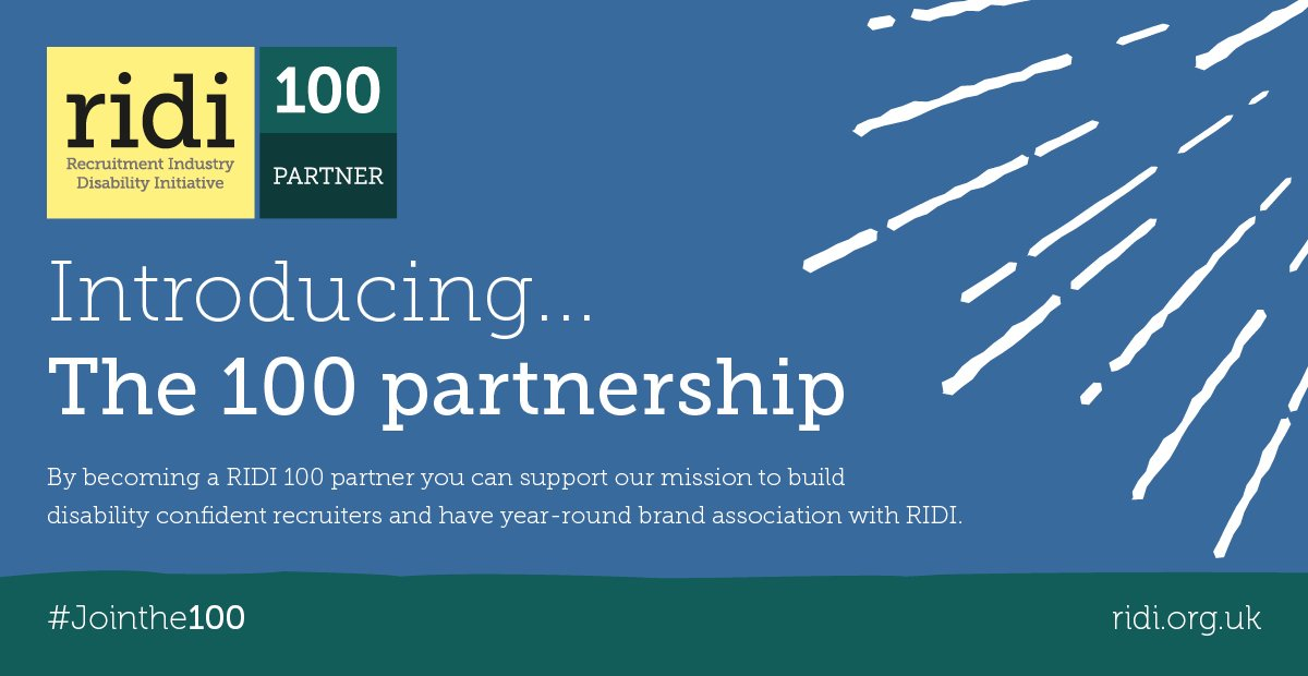 Sharing the ❤️ today and welcoming our new #RIDI100 partners: @MichaelPageUK @Rullion @ThisisLorien @SopraSteriaRec. If you are working to support the inclusion of disabled talent in the workplace, associate your brand with RIDI...http://bit.ly/2GrrFYd  #Jointhe100