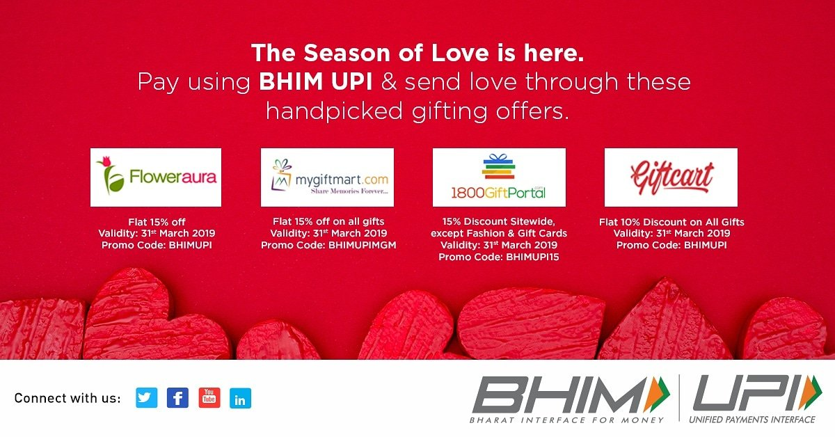 The season of love is here and so are these gifting offers, exclusively on BHIM UPI.  Grab them here - http://bit.ly/BHIMUPIAllOffers…  #Valentines #ValentinesDay #HighOnUPI #UPIOffers
