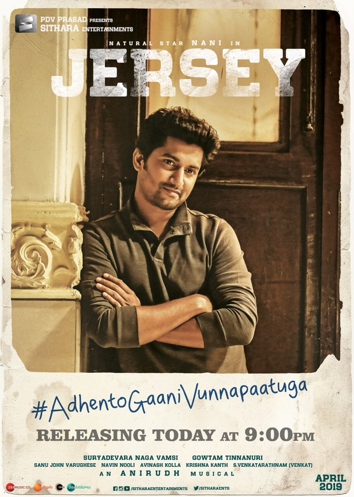 Late ayyindhi kadha ?  Will be worth the wait 😊 In a couple of hours 🎵 #AdhentoGaaniVunnaPaatuga  #Marakkavillayae  #Jersey