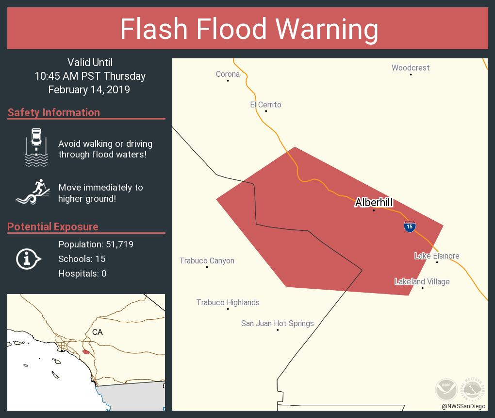 #RT @NWSSanDiego: Flash Flood Warning including Alberhill CA until 10:45 AM PST <br>http://pic.twitter.com/rjNTHBUL8S