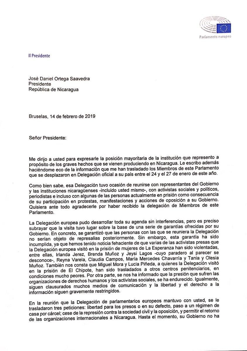 El Parlamento Europeo pide al Presidente Ortega que libere a los presos políticos, cese la represión y permita el retorno de las organizaciones internacionales a Nicaragua. Lee mi carta al respecto.