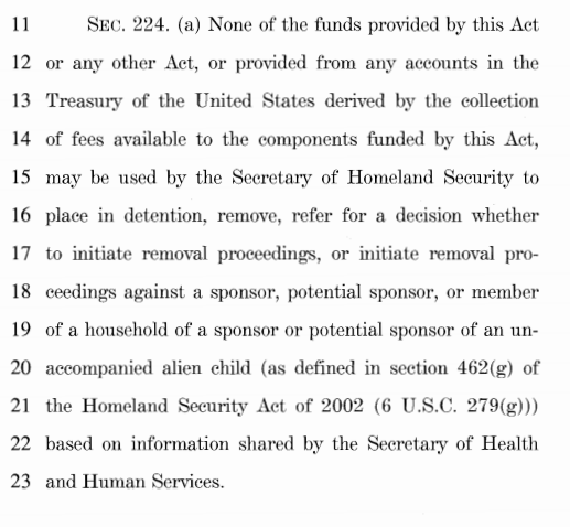 "As @JessicaV_CIS notes, there is a serious amnesty/sanctuary provision snuck into the spending bill.  Section 224(a) would make it so ICE cannot detain or remove anyone who has effectively any kind of relationship (even just as a ""potential sponsor"") with any unaccompanied minor:"