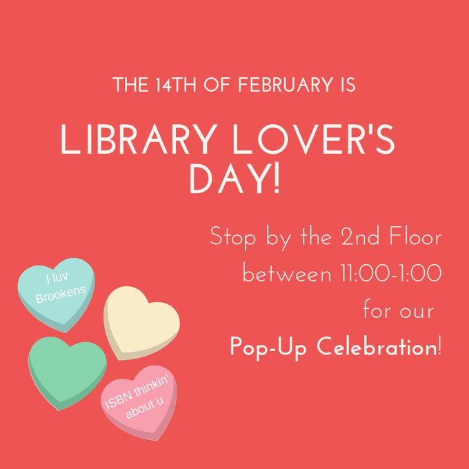 RT @UISLib: Today is #LibraryLoversDay ! In celebration, we are throwing a Pop-Up Event from 11:00-1:00 on the 2nd Floor.  #candy #crafts #…