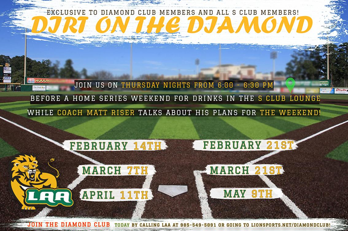 B: Our first #DirtOnTheDiamond with @MattRiser17 is tonight, but you must be a member of either the Diamond Club or S Club to attend. Contact the @LionAthAssoc to join and support @LionUpBaseball. #LionUp #StuckOnGreen