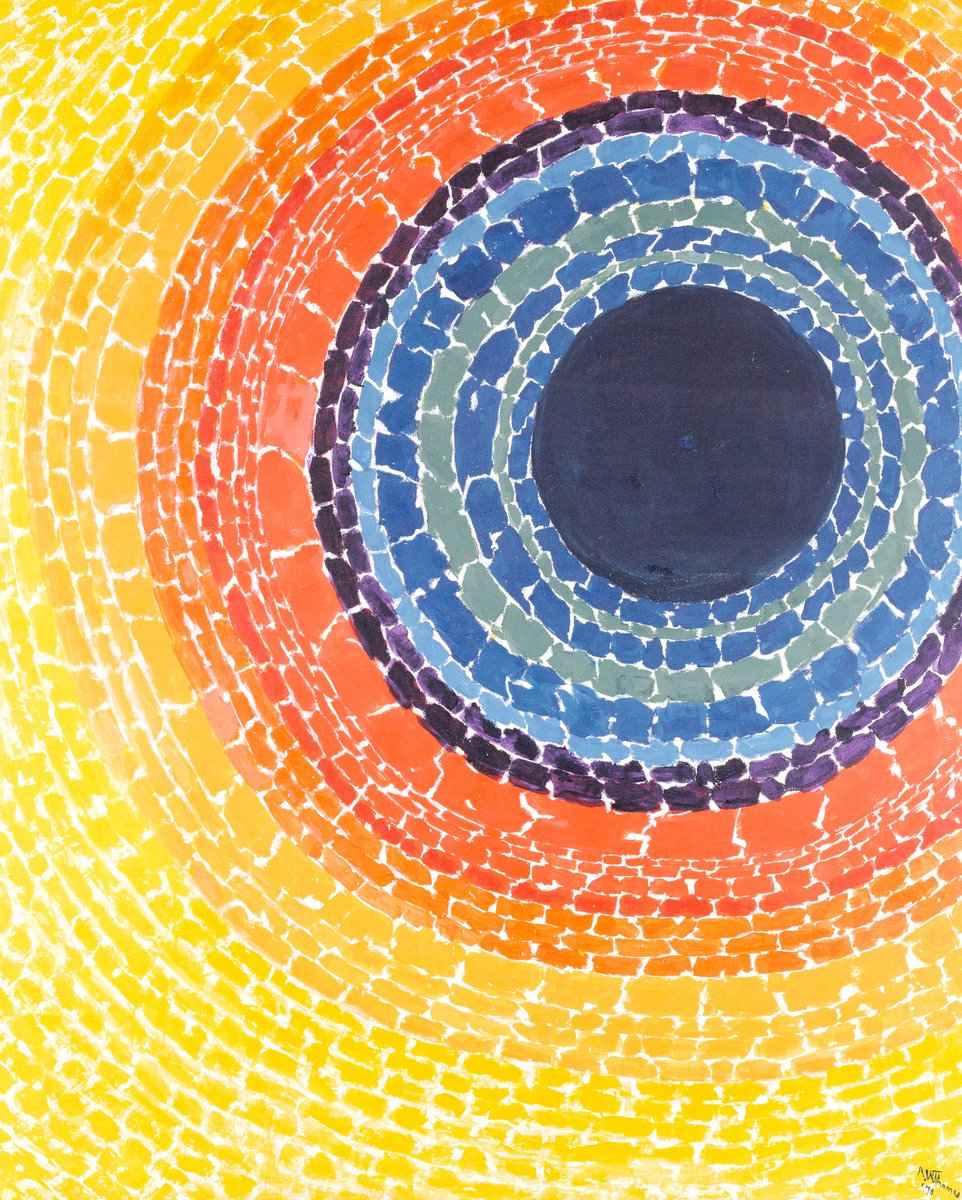 """🎶Nothing I can say A total eclipse of the heart 🎶 → https://americanart.si.edu/artwork/eclipse-24007… 🌞🌑❤️ Alma Thomas, """"The Eclipse,"""" 1970  Thanks for coming along on this cheesy #ValentinesDayCards x art journey 😜"""