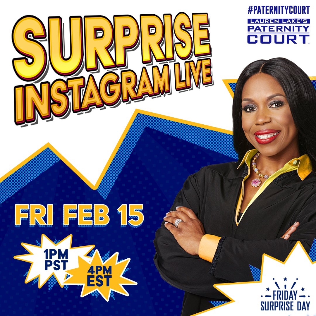 Surprise! Join Judge Lauren for a #FridaySurpriseDay Instagram LIVE, today at 1pmPT/4pmET.
