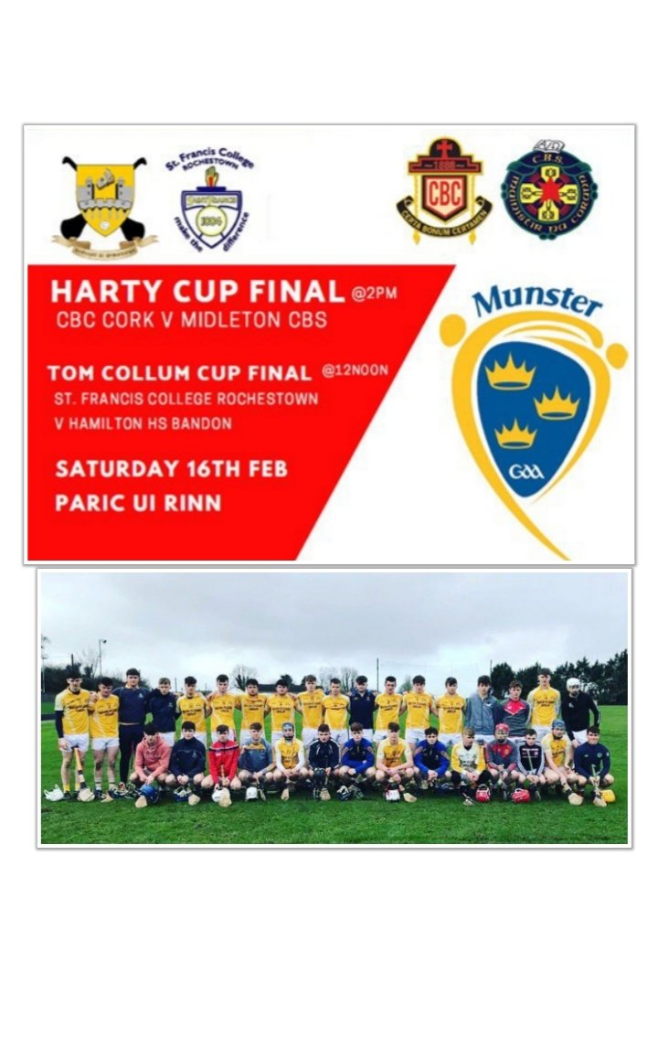 Best of luck to the @dohenygaa & @sammaguiresGAA contingent of Fionn Herlihy, Bill Murphy, Jerry Collins & Sean Daly involved with @hhsbandon who are playing in the u19b Munster Colleges final V @rocogaa tomorrow Saturday at 12 noon.