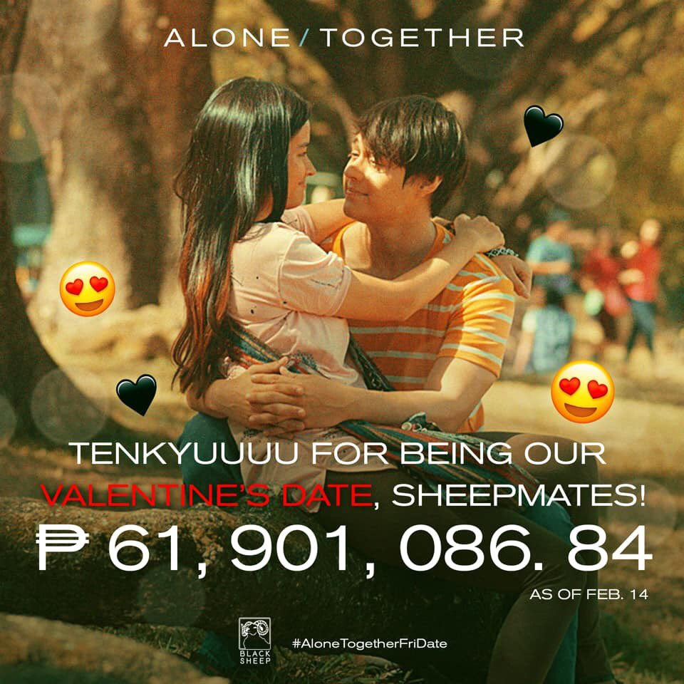 """JUST IN: Liza-Enrique topbilled film """"Alone/Together"""" rakes in more than 60M in the box office as of February 14."""