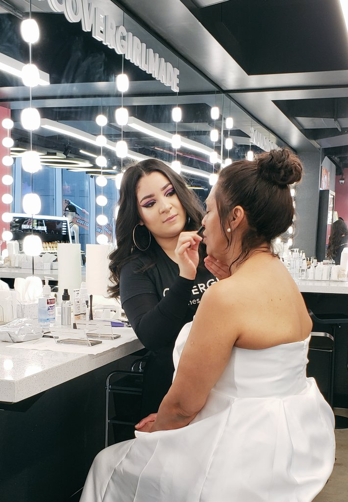 In preparation for today's wedding ceremonies, one of our brides is getting her makeup done with #COVERGIRLNYC in #TimesSquare! #lovetimessquare #ValentinesDay