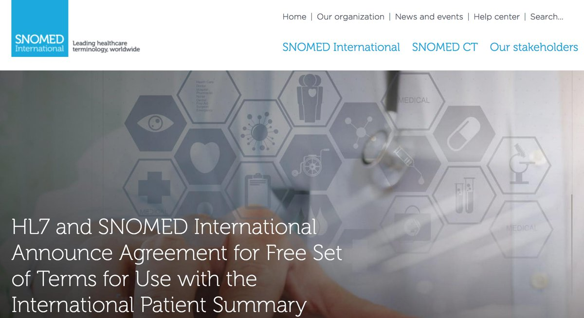 #HL7 and #Snomedct announce agreement for free set of terms for use within the international patient summary - Learn more at https://t.co/h0MPkKa1ZZ https://t.co/KySyzO48O8
