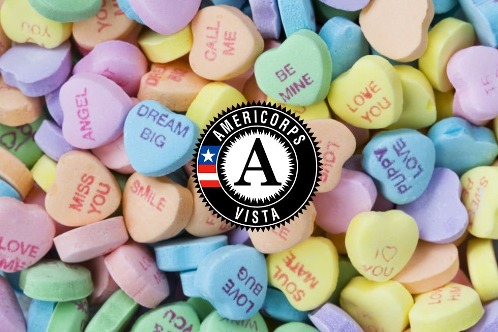 💜 Crazy 4 Corps. 💙 Labor o' Love. 💛Let's Get More Done.  What would your AmeriCorps VISTA candy heart say this #ValentinesDay?