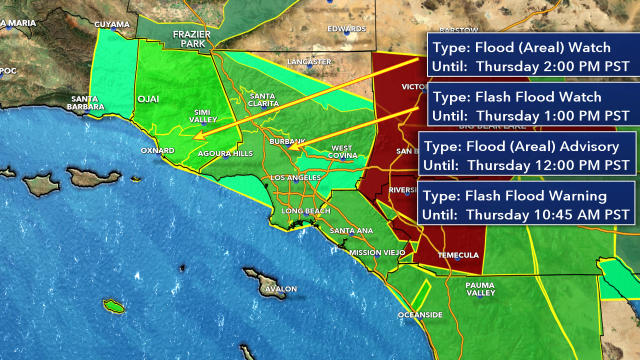 From your KTLA 5 LIVE Weather Center here is the latest FLASH FLOOD WATCHES AND WARNINGS. <br>http://pic.twitter.com/nQXmgLl879