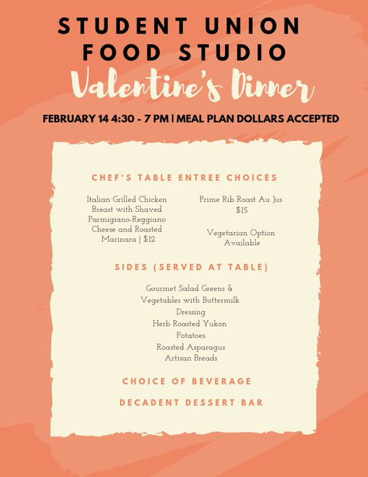 RT @UISUnion: Don't forget about our Valentine's Day dinner tonight in the food studio! Bring someone you love and celebrate today. https:/…