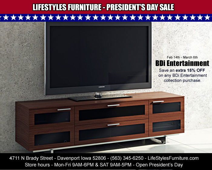 Bdi Entertainment Media An Extra 15 Off At Lifestyles Furniture Feb 14th Through March 6th Quadcities Iowa Illinois