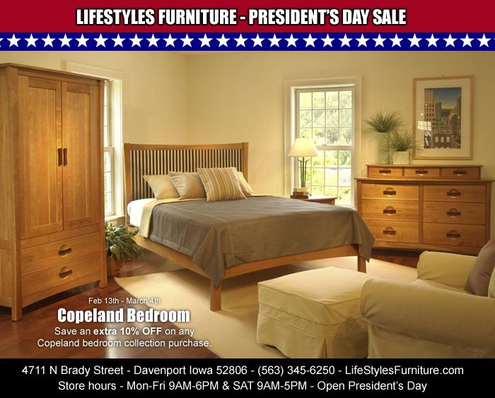 Copeland Bedroom Furniture On At Lifestyles Save An Extra 10 Off Feb 13th Through March 4th Quadcities Iowa Illinois